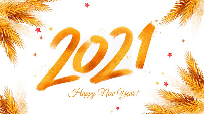 2021 Happy New Year gold painting background