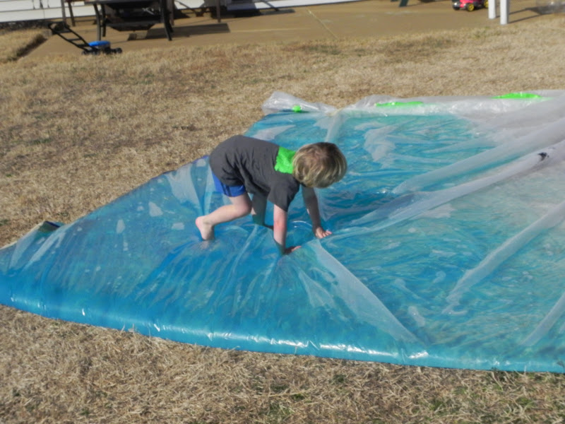 Giant Outdoor Waterbed Activities For Children Play Squishy Bags Water At Home Mom
