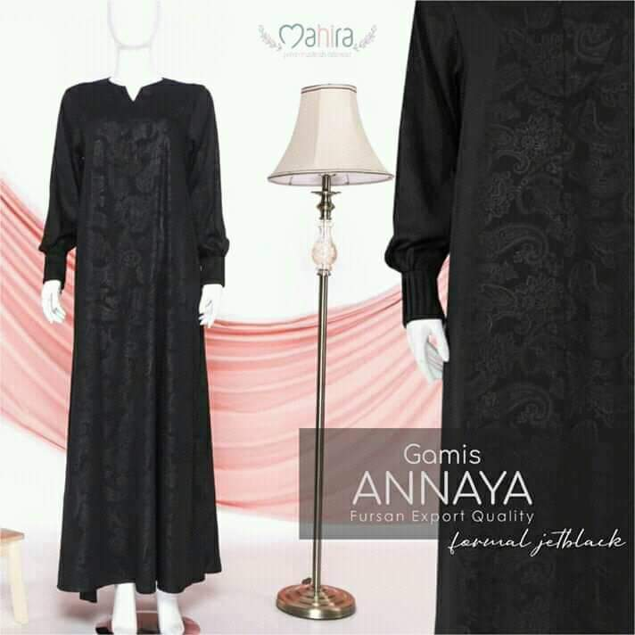 Gamis Annaya Fursan Export Quality Formal Jetblack
