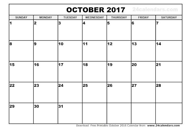 October 2017 Calendar, free October 2017 Calendar, printable October 2017 Calendar, October 2017 Calendar Printable, October 2017 Calendar template, October Calendar 2017, October 2017 Blank Calendar