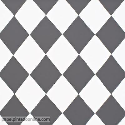 Papel pintado rombos en blanco y negro de OFERTA 15,95 €