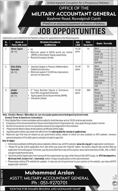 Military Accountant General jobs 2019 Junior auditor (960 vacancies) NTS Online Apply