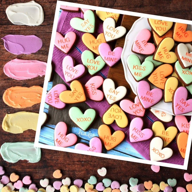 Conversation Heart decorated sugar cookies - Valentine's Day color palette