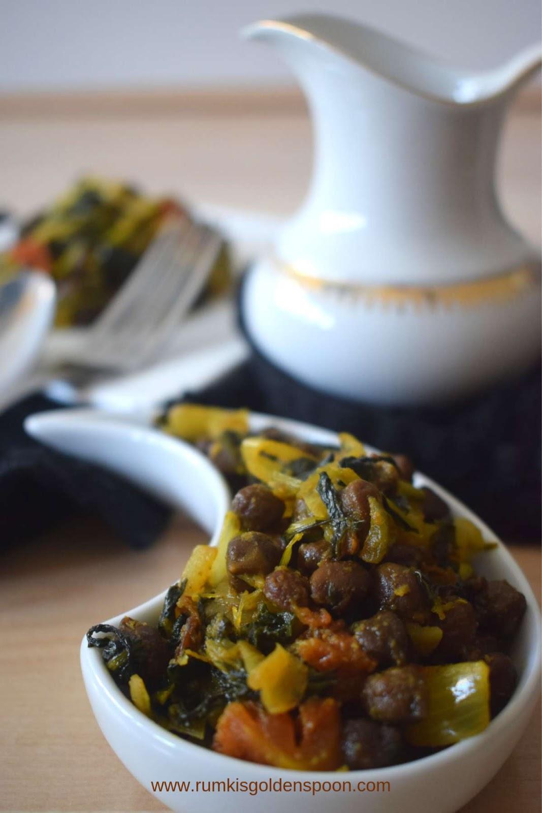 Indian Recipe, Vegetarian, Vegan, Kala Chana Palak | Black Chickpeas-Spinach Dry Curry, Rumki's Golden Spoon, Palak kala chana sukhi sabzi/ sabji/ tarkaari, recipe with spinach, spinach dry curry recipe, recipe with chickpeas/ chana, Indian curry recipe with chole/ chana/ chickpeas, palak shaag ki sabji/ sabzi/ tarkaari, palong shaaker chola diye tarkaari