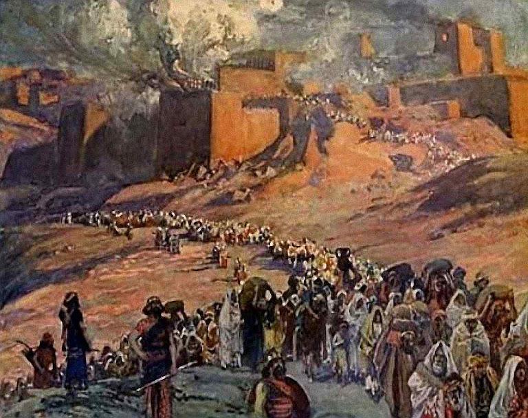 Após a destruição de Jerusalém, o povo eleito foi levado cativo para Babilônia. Aquarela de Joseph Jacques Tissot, 1836 – 1902.