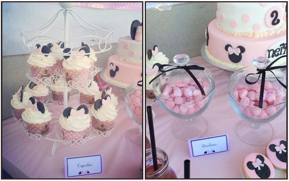 Cupcakes et gâteau pâte à sucre thème Minnie