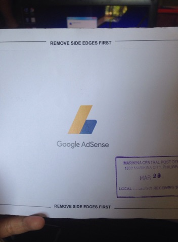 Google Adsense snail mail containing the PIN