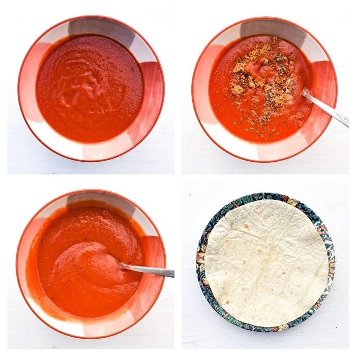 Making sweet potato enchiladas - step 4 - make the enchilada sauce