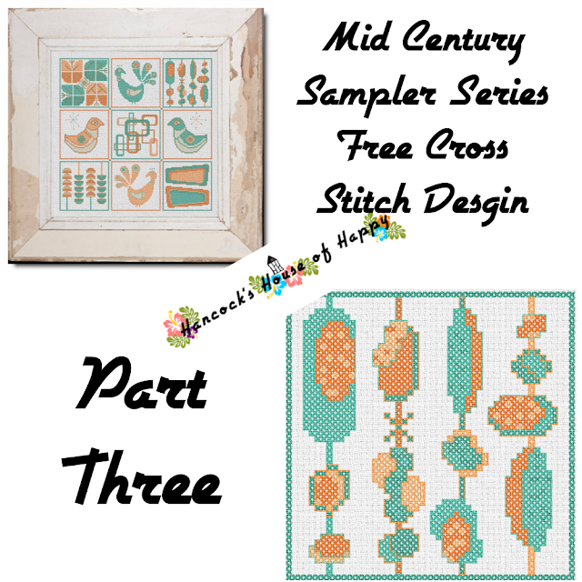 Mid-Century Madness: Free Country Style Mid-Century Cross Stitch Sampler Design Part III