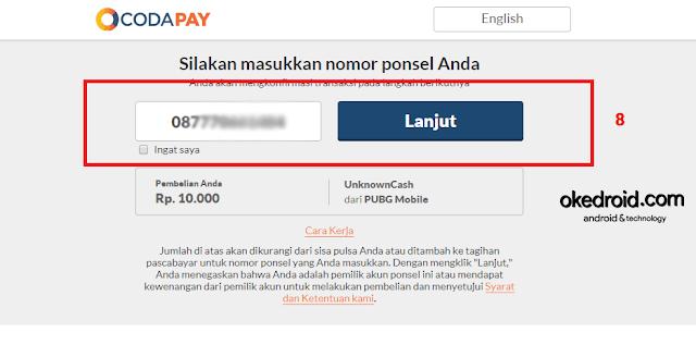 masukan nomor pembayaran potong via dengan pulsa top up isi ulang unknown cash pubg mobile