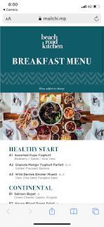 Breakfast menu, JW Marriott Singapore Beach Road, 2021