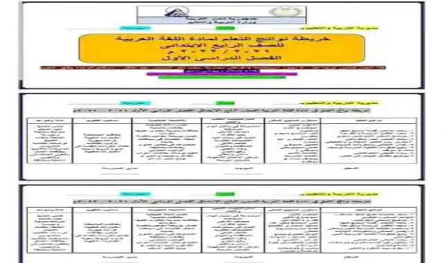 خريطة نواتج تعلم اللغة العربية للصف الرابع الابتدائى الترم الاول 2022