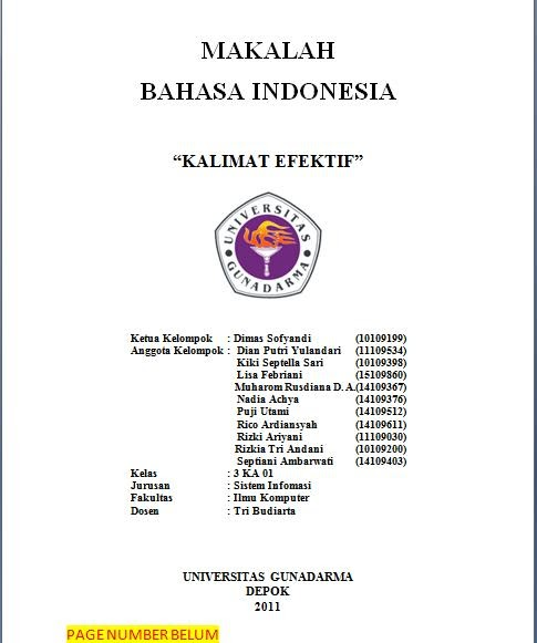 Chipau Blog Makalah Kalimat Efektif Bahasa Indonesia