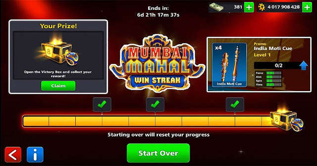 8 ball pool Mumbai Mahal Win Streak