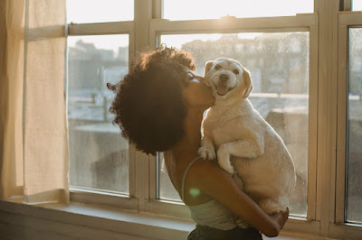 A woman hugs her little dog by the window of her condo. But a pet isn't always good & there can be downsides in the pandemic