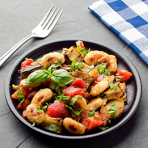Roast White Beans and Eggplant with Tomato