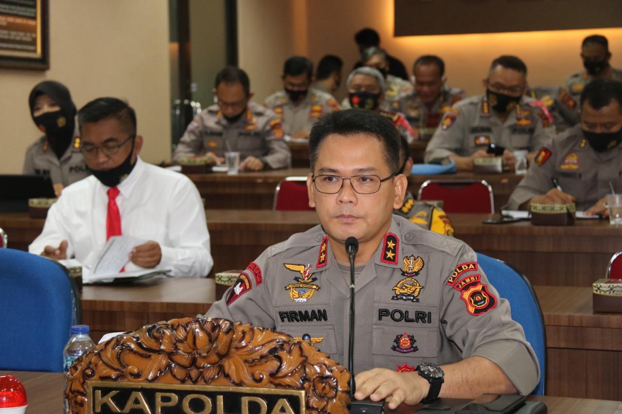 Pelaksanaan Acara Vicon Kesiapan Operasi Yustisi di Pimpin Oleh Kapolda Jambi