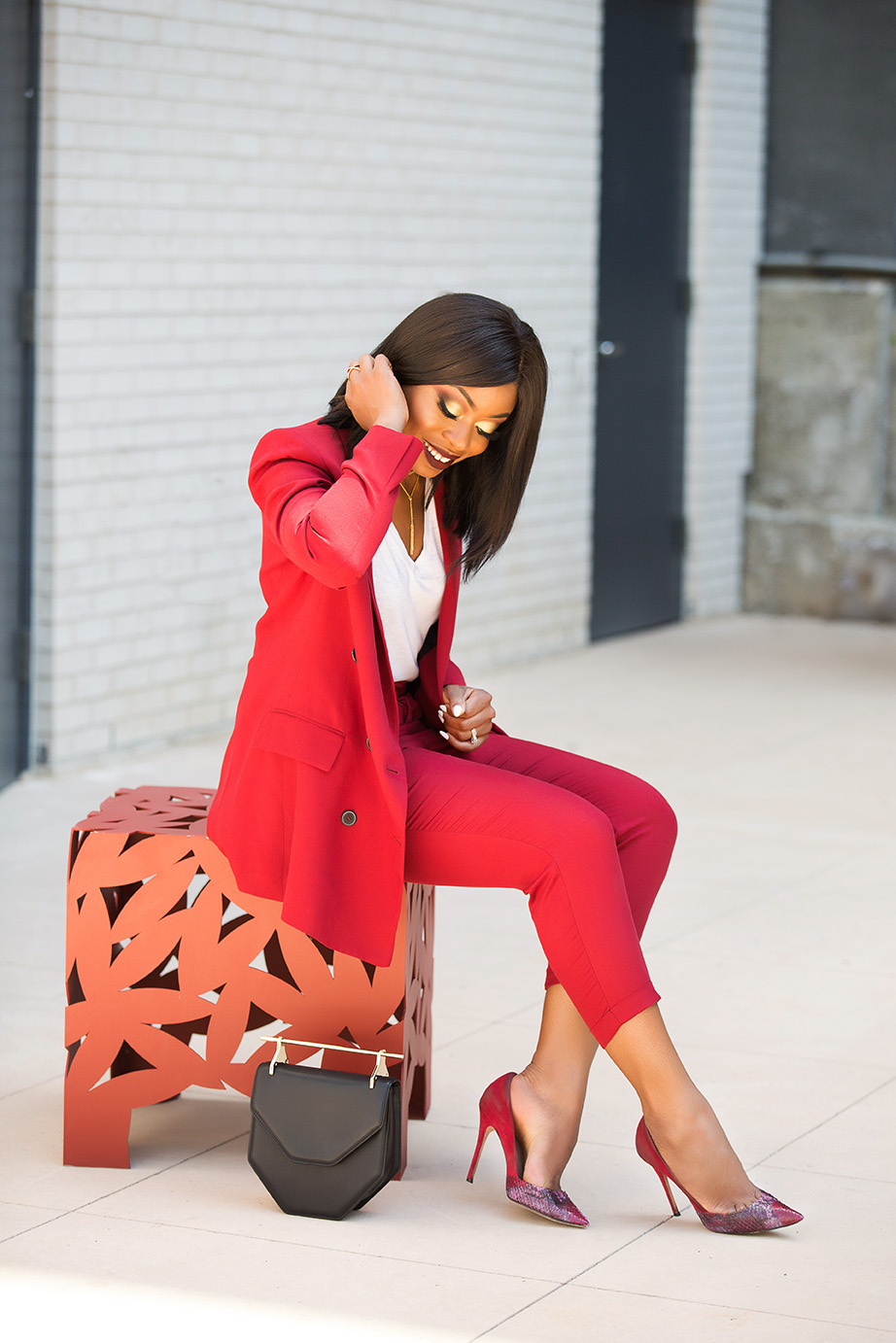 work style, red suit, www.jadore-fashion.com