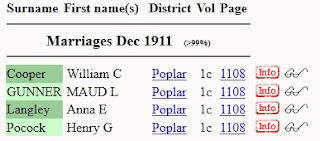 Screen capture of Marriages Dec 1911 results for a search for Henry Pocock in the FreeBMD index.