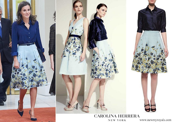 Queen Letizia wore Carolina Herrera Blue flower Party Skirt