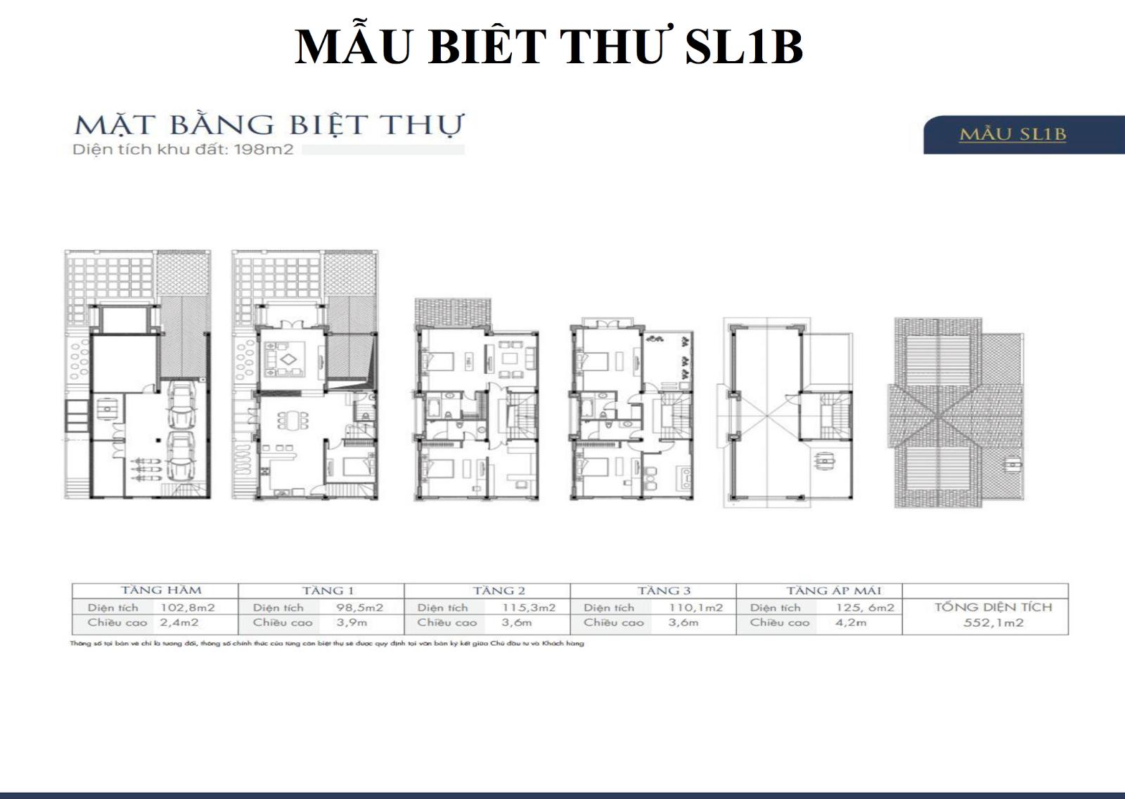 Mặt bằng biệt thự An Khang Villas SL1B