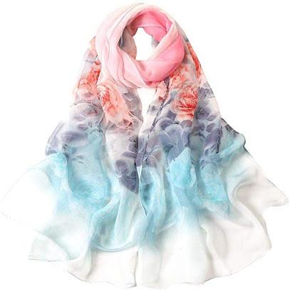 Flower Print Silk Chiffon Scarves Shawls