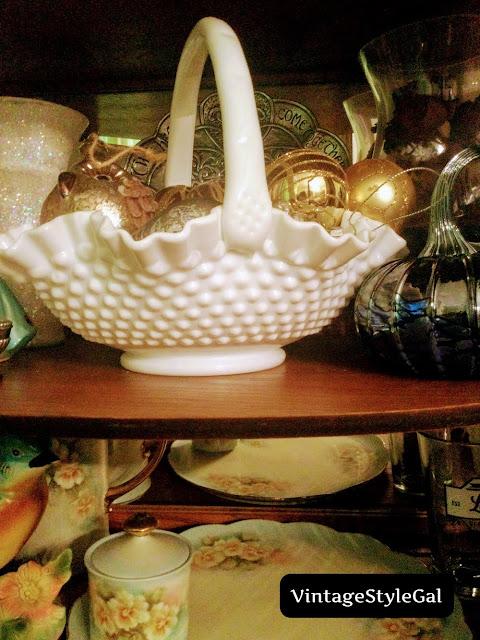 Milk glass basket