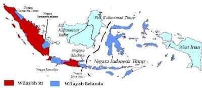 Gambar.Wilayah Indonesia hasil perjanjian Renville