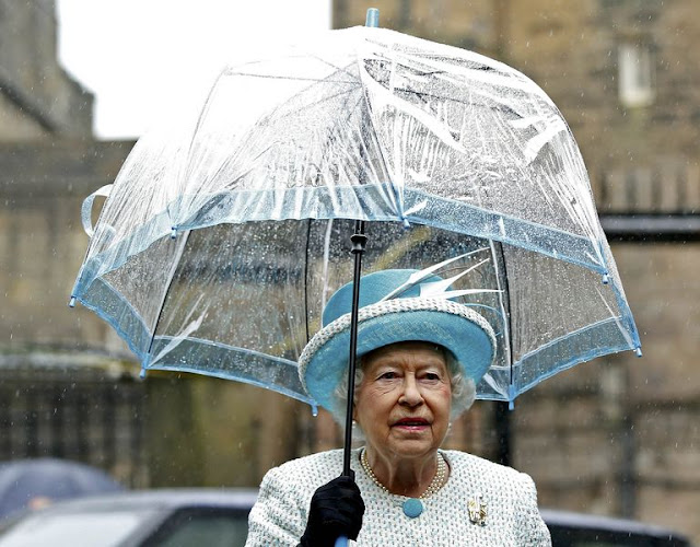 QUEEN ELIZABETH'S UMBRELLAS are clear in order to see and be seen!