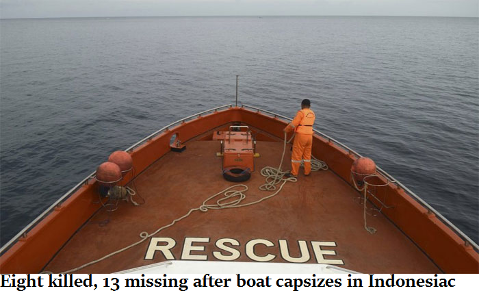 Eight killed, 13 missing after boat capsizes in Indonesia