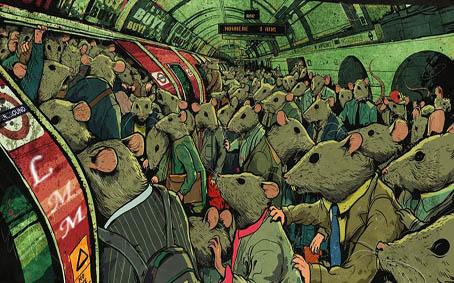 Cette image montre des rats dans le metro, ces rongeurs sont personnifies puisqu'on les voit habilles, plusieurs portent meme c costume cravate. Cette image illustre le poeme Rat race du Marginal Magnifique dans lequel l'immense poete denonce le systeme capitalise qui enferme les individus, les prend au piege dans une course insense comme des rats qui crourt indefiniment dans leur roue.