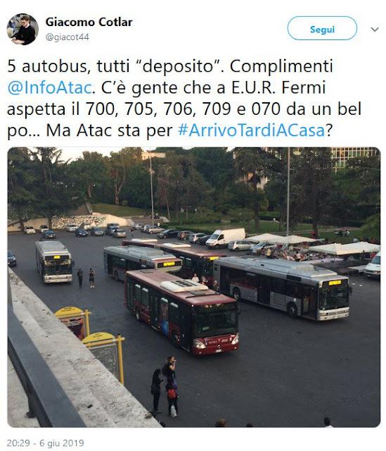 Situazione Trasporto Pubblico Roma venerdì 7 giugno