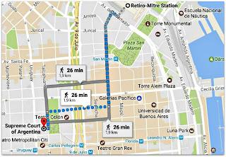 O Segredo dos Seus Olhos - Roteiro Estação Retiro - Palácio da Justiça (Google Maps)