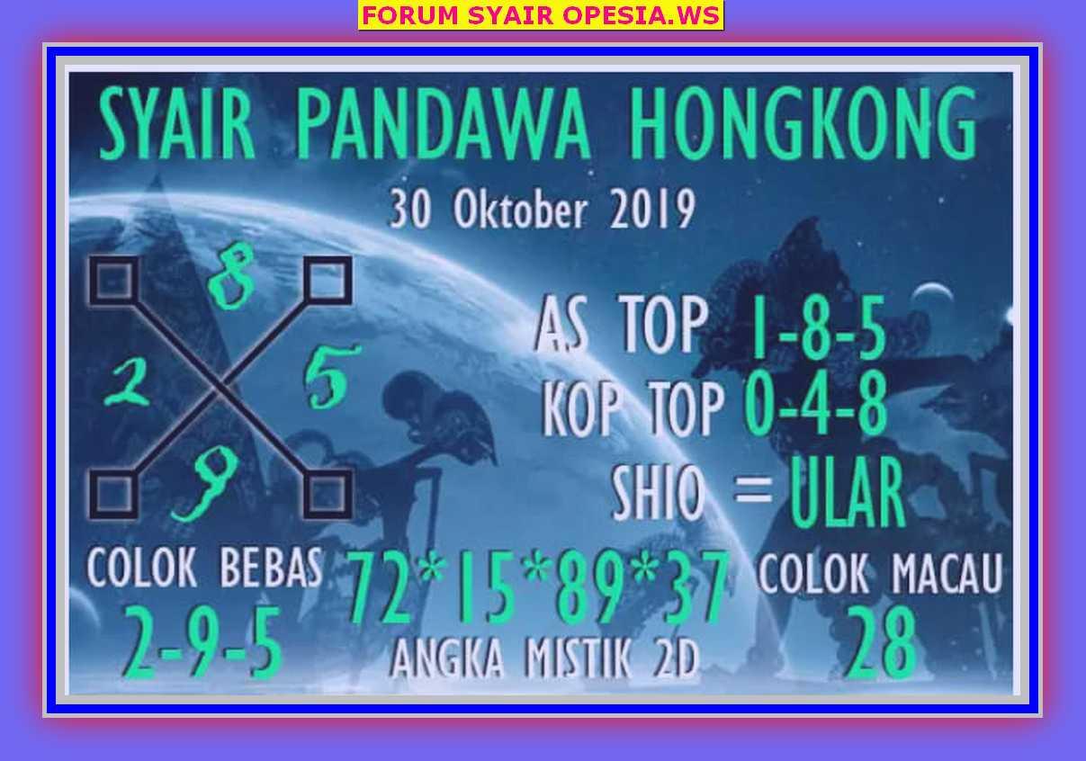 Kode syair Hongkong Rabu 30 Oktober 2019 10