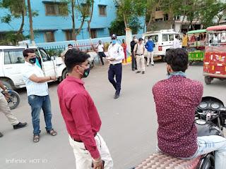 शहर में कोविड 19 महामारी पर अंकुश लगाने के लिए आम जन में चलाया गया मास्क लगाओ अभियान
