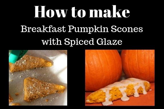 this is a recipe for how to make pumpkin breakfast scones with a spiced glazed frosting