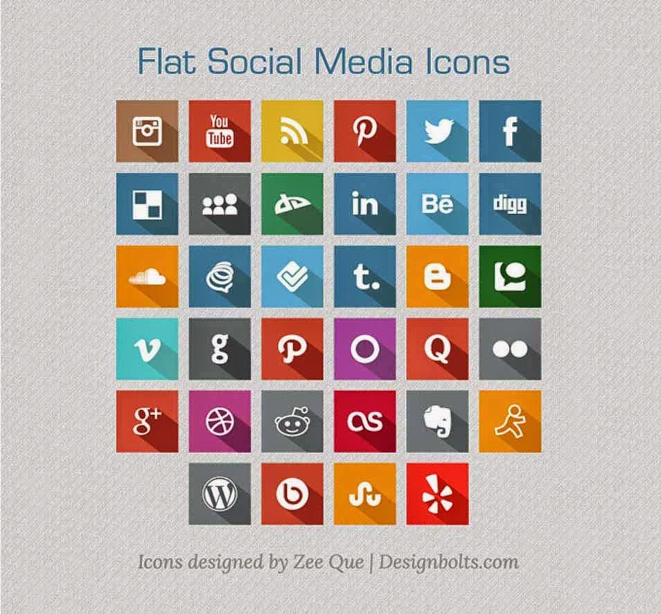 Long Shadow Flat Free Social Media Icons