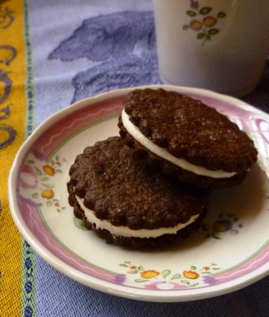 Chocolate Shortbread Sandwich Cookies with Vanilla Buttercream Filling