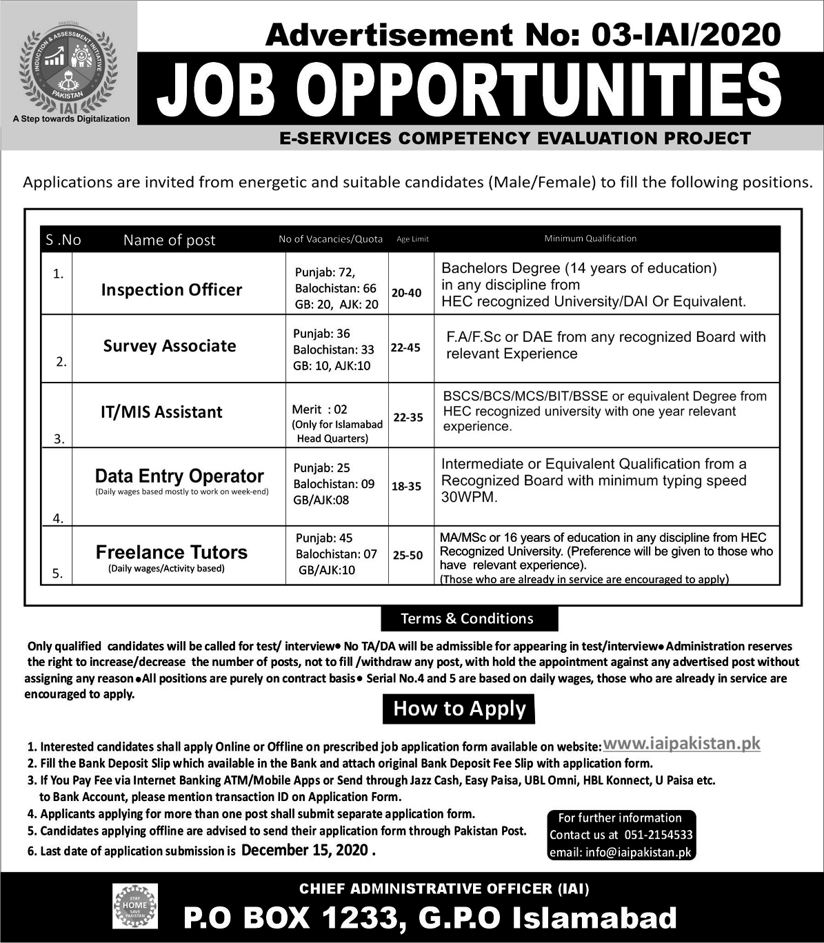 Induction And Assessment Initiative IAI Jobs