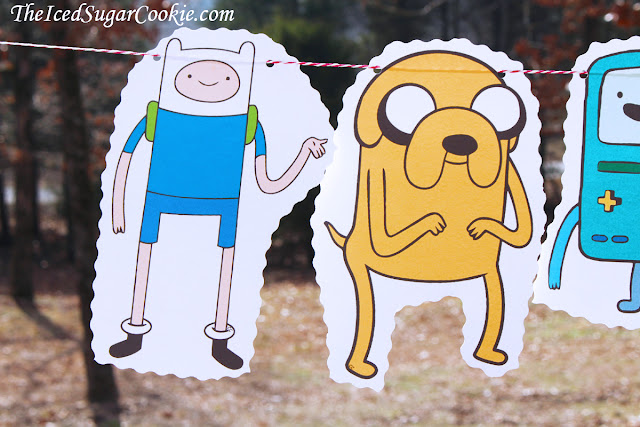 Adventure Time Birthday Party Flag Hanging Bunting Banner Garland-Finn The Human, Jake The Dog, Beemo, Lady Rainicorn, Princess Bubblegum, Lumpy Space Princess, Ice King