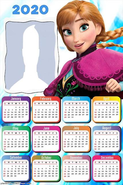 Frozen: Calendario 2020 Para Imprimir Gratis.