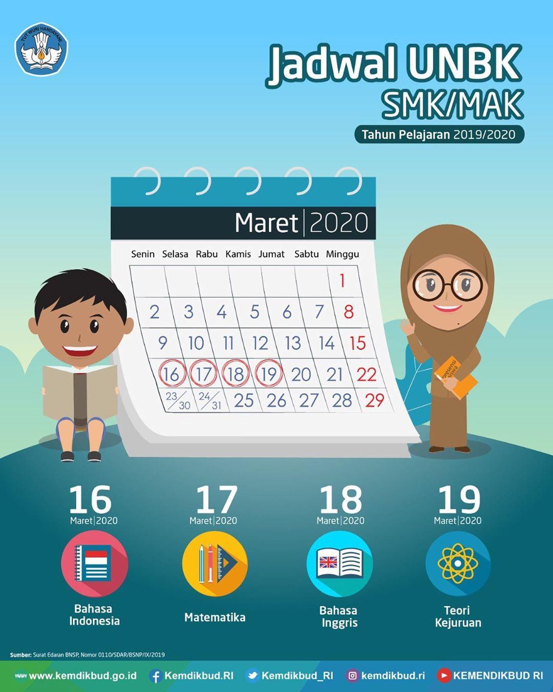 Jadwal UNBK SMK MAK Tahun Pelajaran 2019/2020