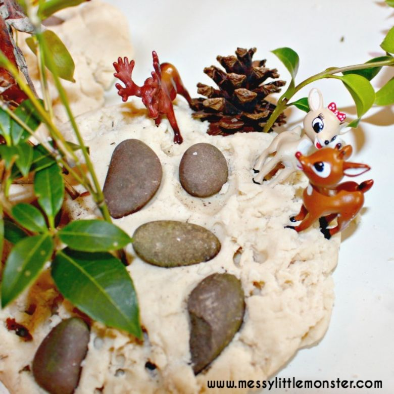 Activities for toddlers - woodland playdough activity