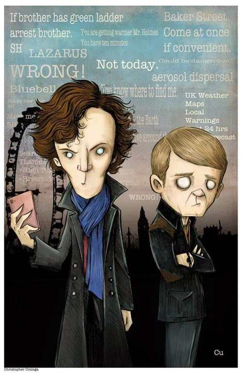 15-Sherlock-Holmes-&-Watson-Chris-Uminga-Game-of-Thrones-Watercolours-www-designstack-co