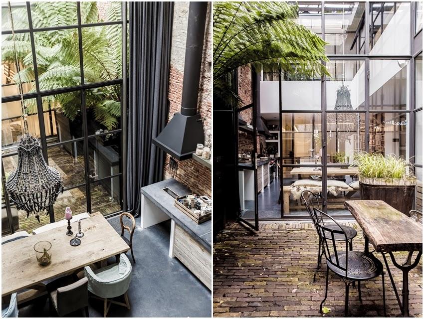 Wspaniały loft z oszklonym patio, wystrój wnętrz, wnętrza, urządzanie domu, dekoracje wnętrz, aranżacja wnętrz, inspiracje wnętrz,interior design , dom i wnętrze, aranżacja mieszkania, modne wnętrza, loft, styl loftowy, styl industrialny