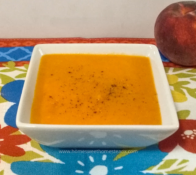 Chilled Tomato Peach Soup - Home Sweet Homestead #SoupSaturdaySwappers