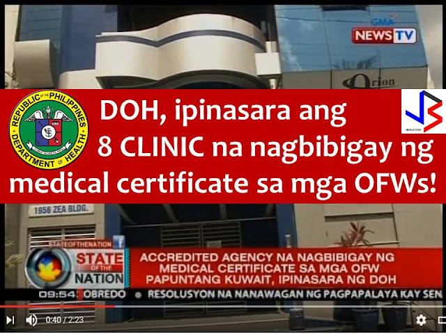 Thousands of Overseas Filipino Workers (OFWs) could not leave the country, especially those who are bound to Kuwait after Department of Health (DOH) ordered the closure of eight medical clinics.  These clinics were exclusively accredited by Ministry of Health of Kuwait through the Winston Q8 Certification Solution Agency.  With the suspension order, thousands of OFWs bound for Kuwait and other countries could not undergo the required medical examination.