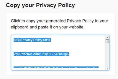 cara membuat privacy policy di blogger