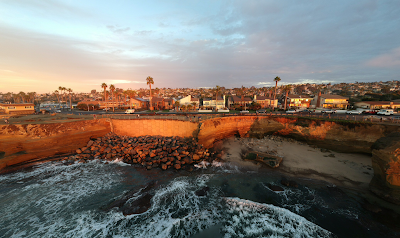 Panoramic of Sunset Cliffs taken from drone