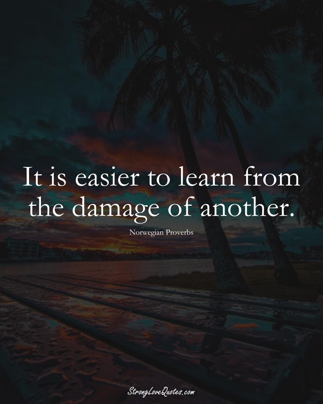 It is easier to learn from the damage of another. (Norwegian Sayings);  #EuropeanSayings